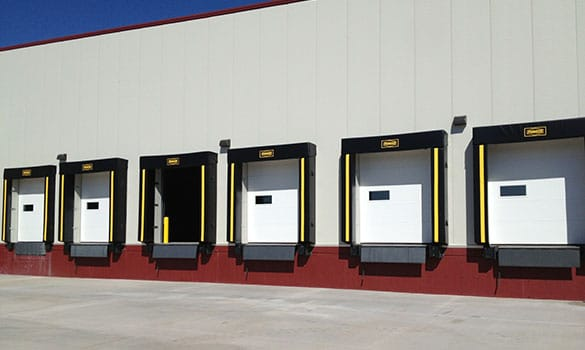 commercial building with six loading dock bays